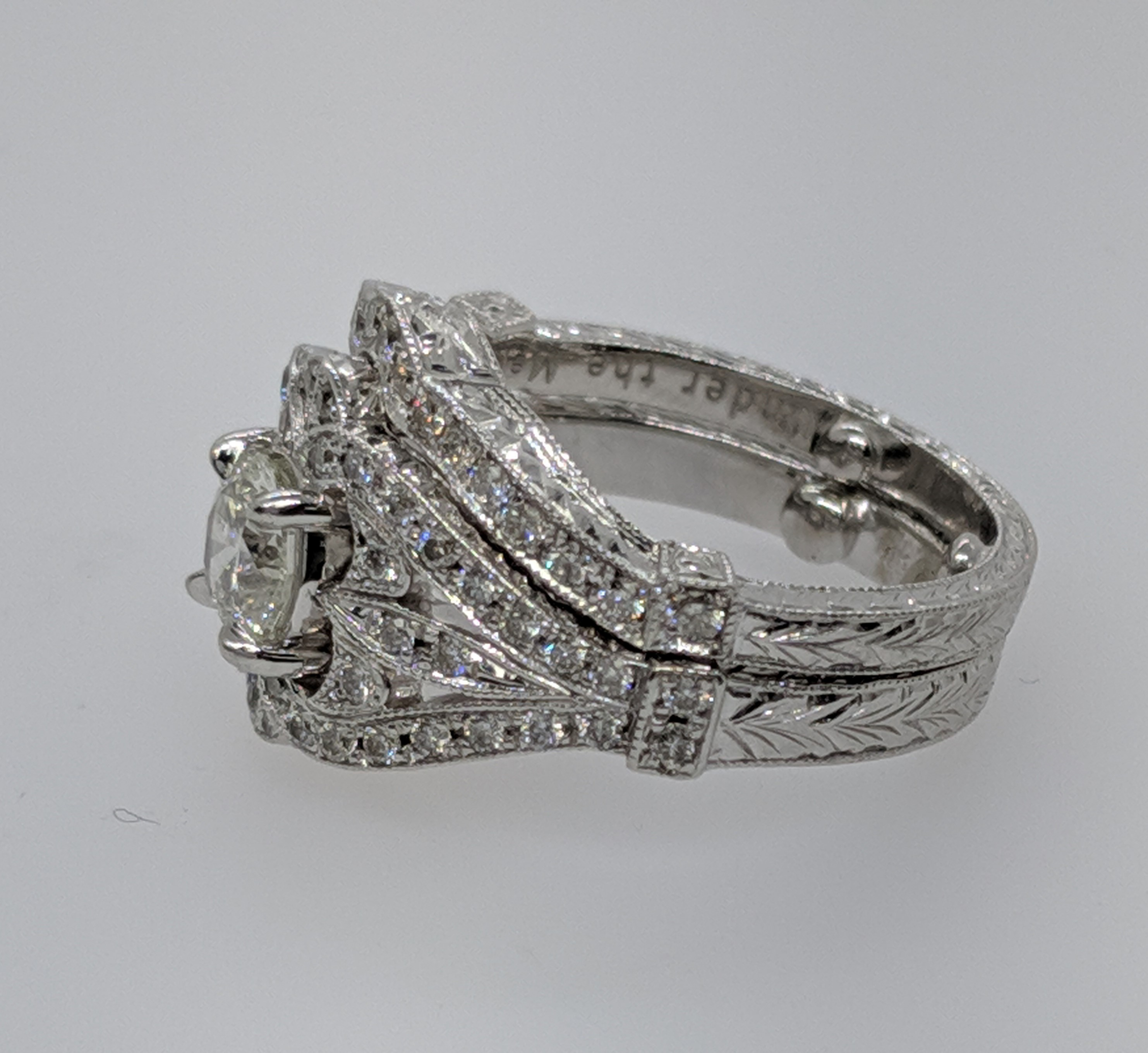 Vintage Diamond Engraved Bridal Set