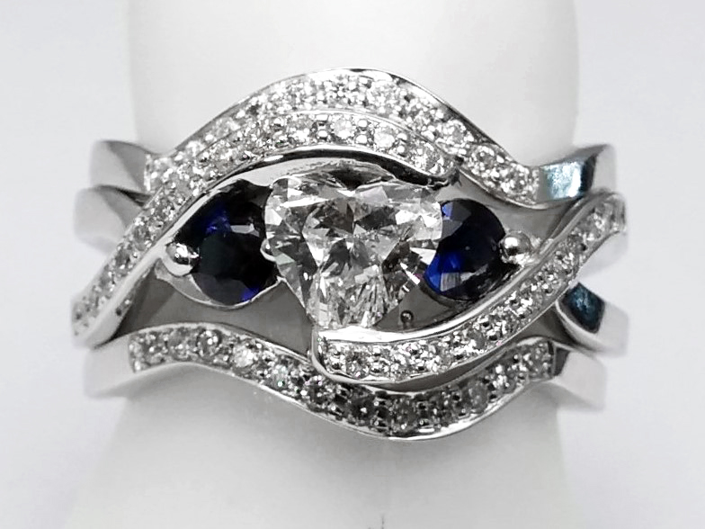 Twisted Diamond Engagement Ring and Two Wedding Bands in 14K White Gold
