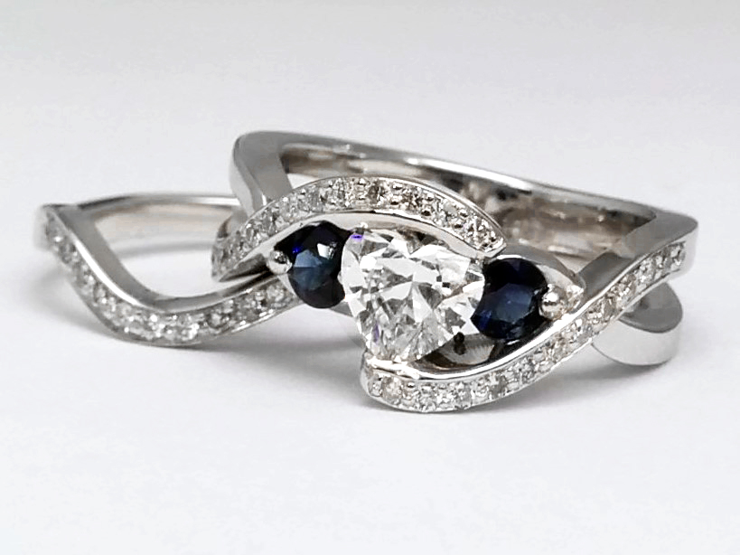 Twisted Diamond Engagement Ring and Wedding Band In 14k White Gold