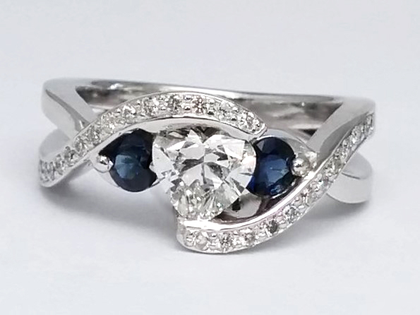 Twisted Diamond Engagement Ring and Wedding Band