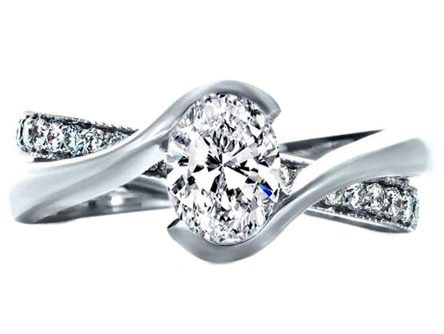 Oval Diamond Twisted Criss-cross Pave Engagement Ring and Interlocking Wedding Band