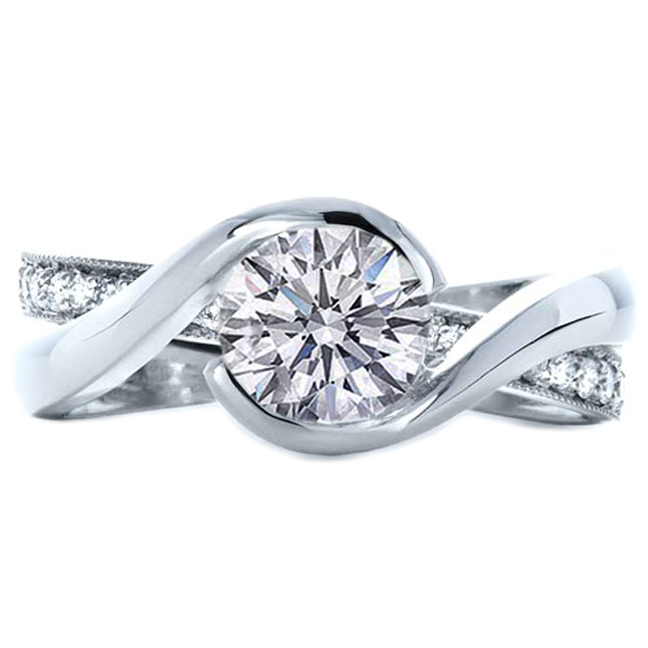 Engagement Ring Twisted Criss Cross Pave Diamonds Interlocking Wedding In 14k White Gold Es941brwg