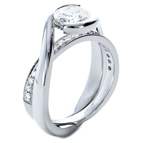 Twisted Criss-cross Pave Diamonds Engagement Ring & Interlocking Wedding Ring