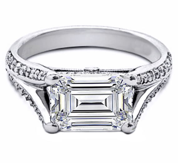 Emerald Cut Horizontal Split Band Pave Engagement Ring in 14K White Gold