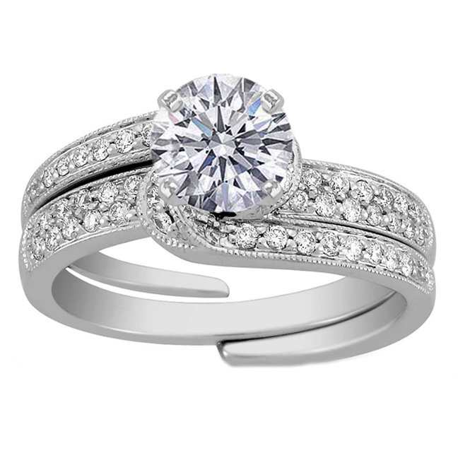 interlocking floral diamond wedding set - Interlocking Wedding Rings