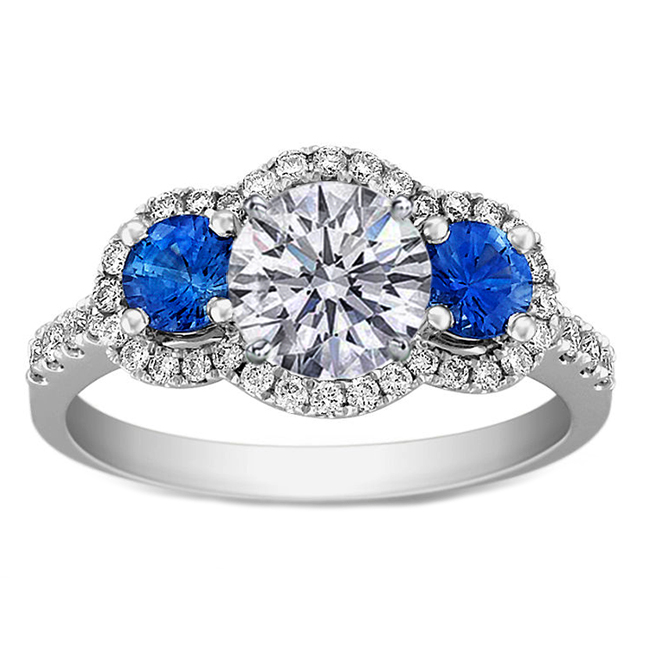Three Stone Diamond Halo Engagement Ring Blue Accents in 14K White Gold