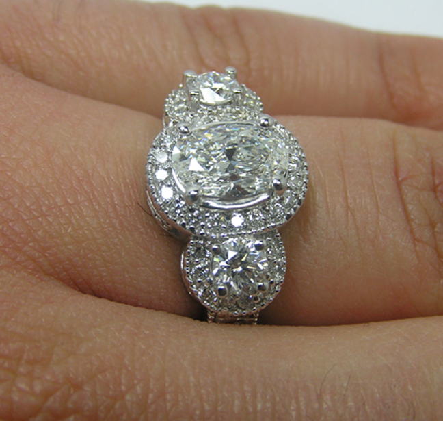 Engagement Ring Three Stone Oval Diamond Halo In 14k White Gold 0 89 Es959ovwg