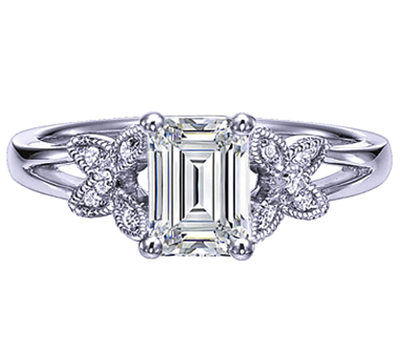 Emerald Cut Diamond Butterfly Engagement Ring Split Band In 14K White Gold