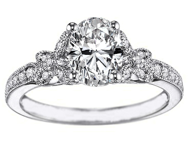 Oval Diamond Butterfly Engagement Ring, Pave band, 0.24 tcw, White gold