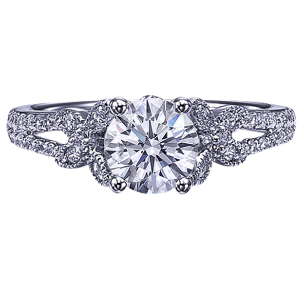 Diamond Butterfly Engagement Ring, Pave Split Band, White Gold