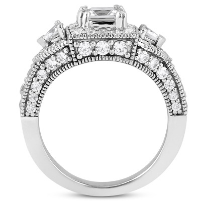 Vintage Style Three Stone Halo Trillion Diamond Ring for a Princess Center