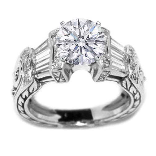 Vintage Heirloom Diamond Engagement Ring Baguettes & Diamond Accents 0.80 tcw. In 14K White Gold