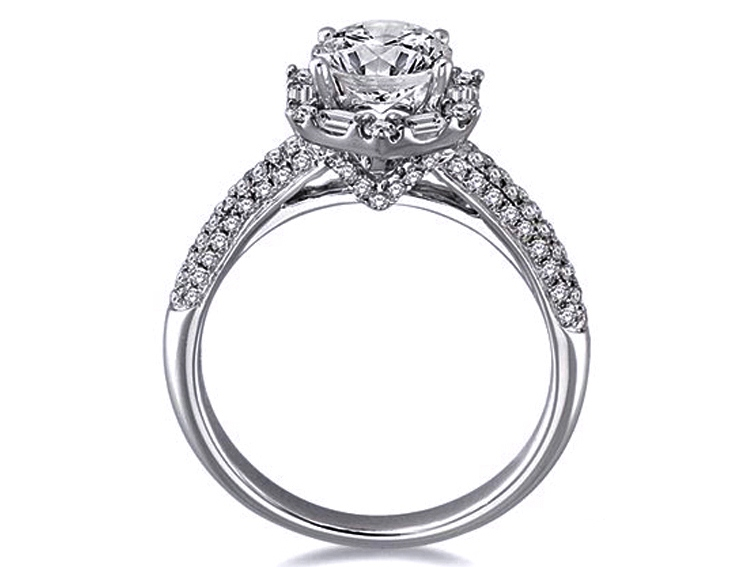 Hexagon Baguette Halo Engagement Ring, pave band