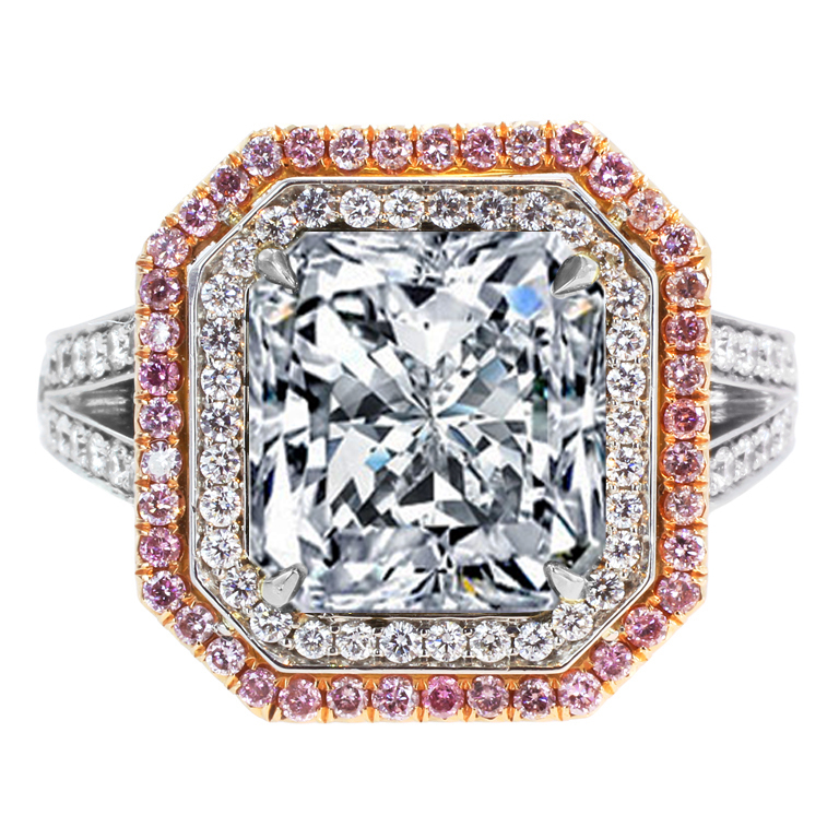 Large Radiant Diamond Ring White Pink Diamonds Halo