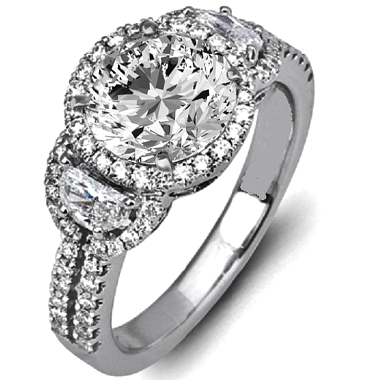 Diamond Halo Engagement Ring Half Moon Side Stones