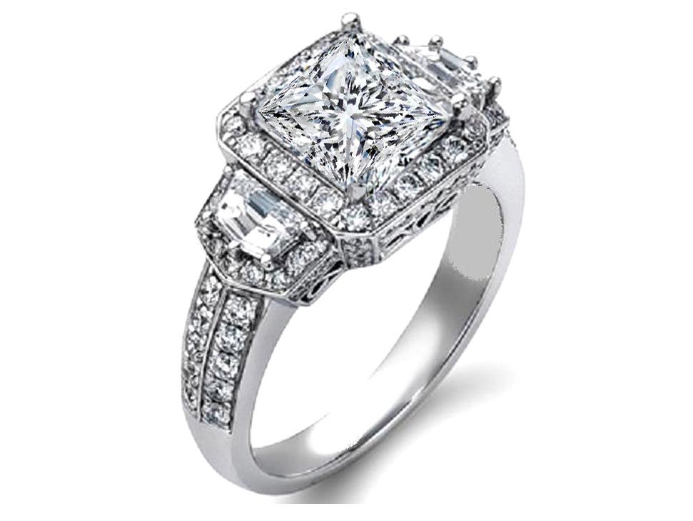 Princess Diamond Halo Engagement Ring Cadillac Side Stones