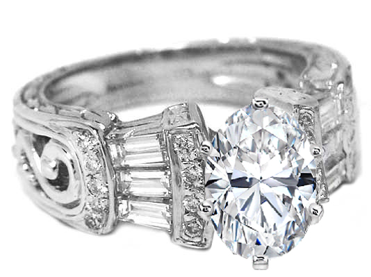 Oval Diamond Vintage Heirloom Engagement Ring Setting with Baguettes & Diamond accents 0.80 tcw.