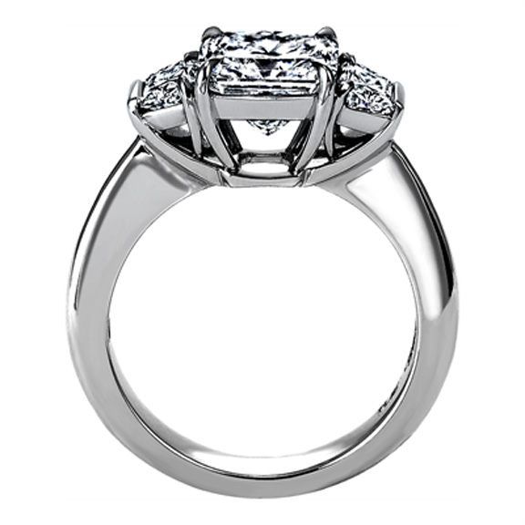 Radiant Diamond Engagement Ring with Bar Set Brilliant Trapezoid Diamond side stones 0.45 tcw.
