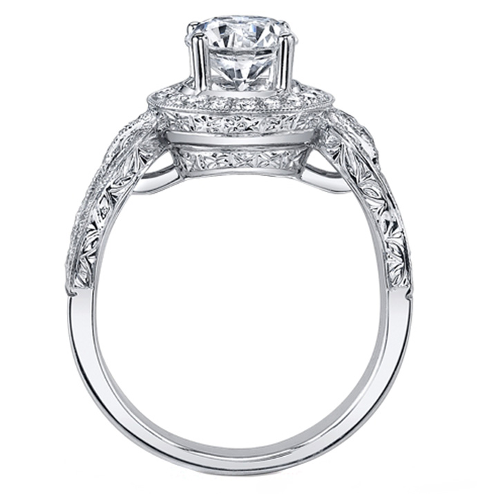 Vintage Design Halo Engagement Ring in 14k White Gold