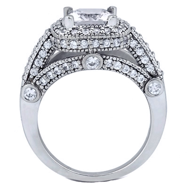 Cushion Diamond Legacy Style Engagement Ring 0.78 tcw. In 14K White Gold