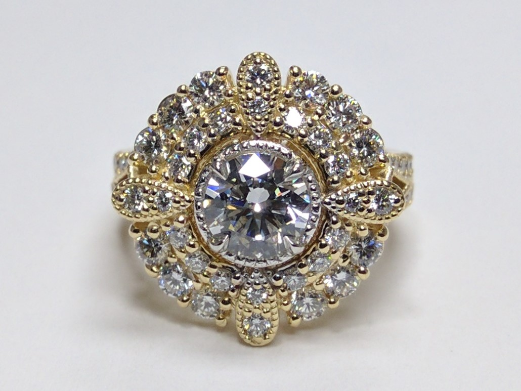 Diamond Compass Double Halo Ring Yellow Gold