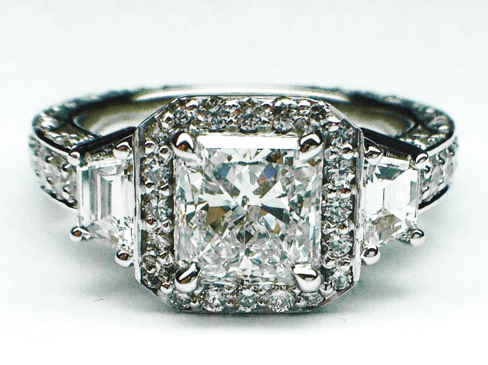 Radiant Diamond Engagement Ring, Trapezoids sides vintage Pave