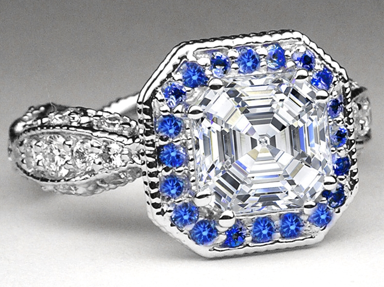 Asscher Diamond Vintage Pave Engagement Ring Blue Sapphire halo in 14K White Gold
