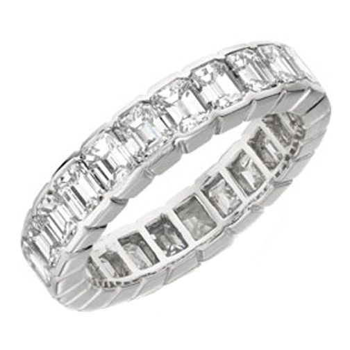 Emerald Cut Diamond Eternity Wedding Band F VS 13.5 tcw. In 14K White Gold
