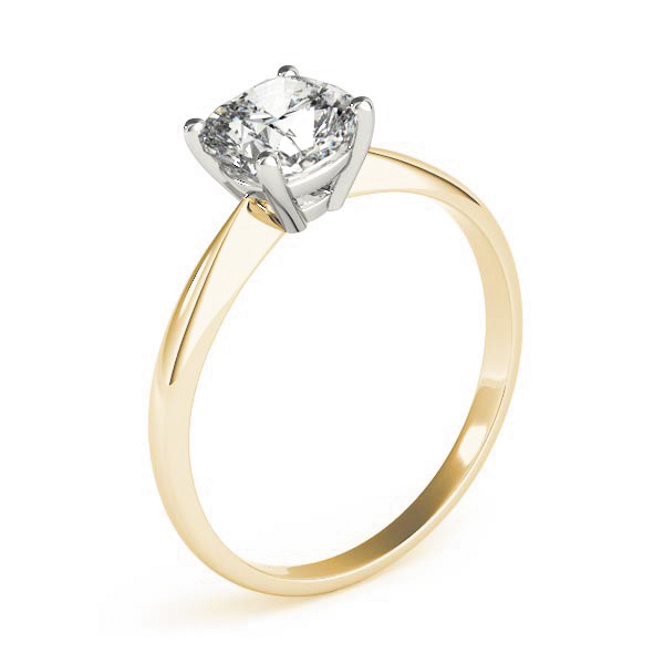 Classic Solitaire Cushion Engagement Ring Yellow Gold