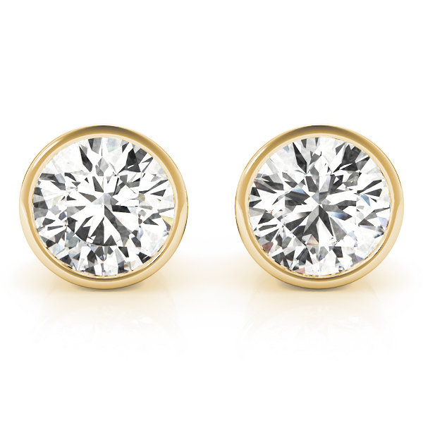Round Bezel Earrings 1.0 Ct. Yellow Gold