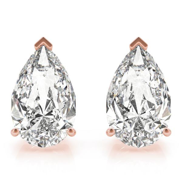 Pear Diamond Stud Earrings 1.0 Ct. Rose Gold