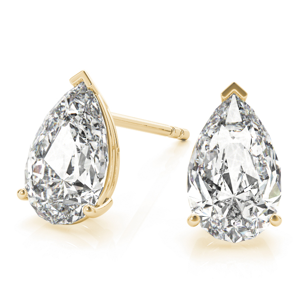 Pear Diamond Stud Earrings 1.0 Ct. Yellow Gold