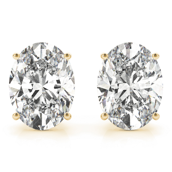Oval Diamond Stud Earrings 0.5 Ct. Yellow Gold