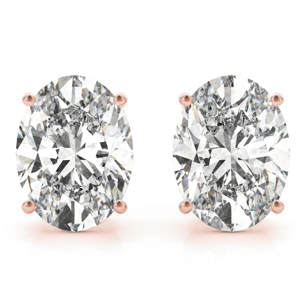 Oval Diamond Stud Earrings 0.4 Ct. Rose Gold