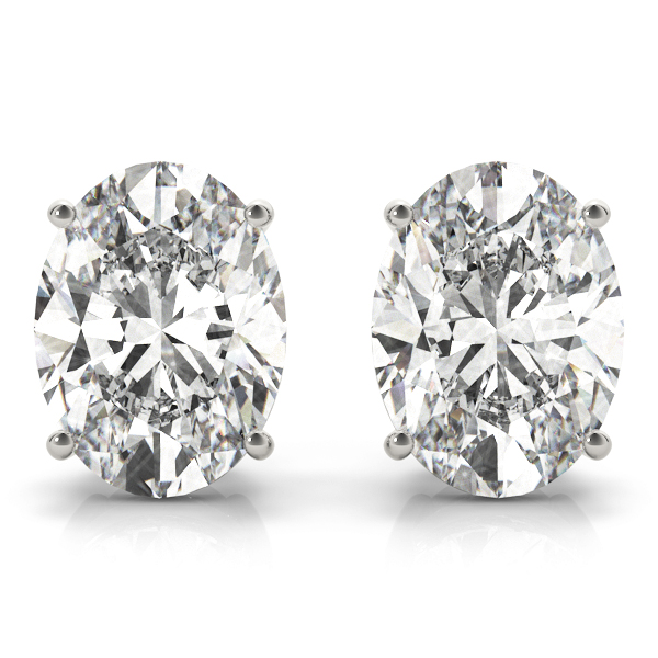 Oval Diamond Stud Earrings H VS 0.94 tcw. In 14 Karat White Gold