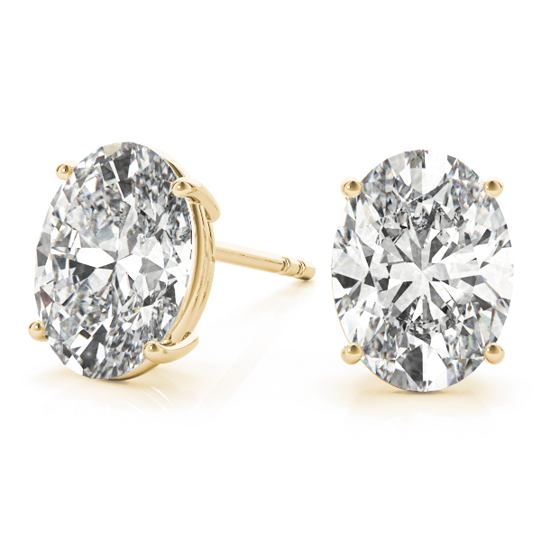 Oval Diamond Stud Earrings 0.75 Ct. Yellow Gold