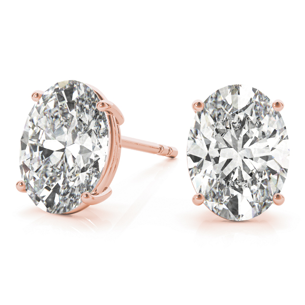Oval Diamond Stud Earrings 0.5 Ct. Rose Gold