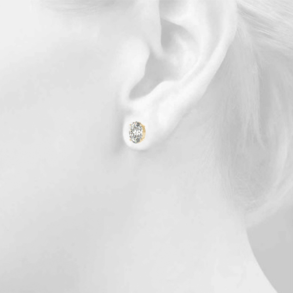 Oval Diamond Stud Earrings 0.4 Ct. Yellow Gold