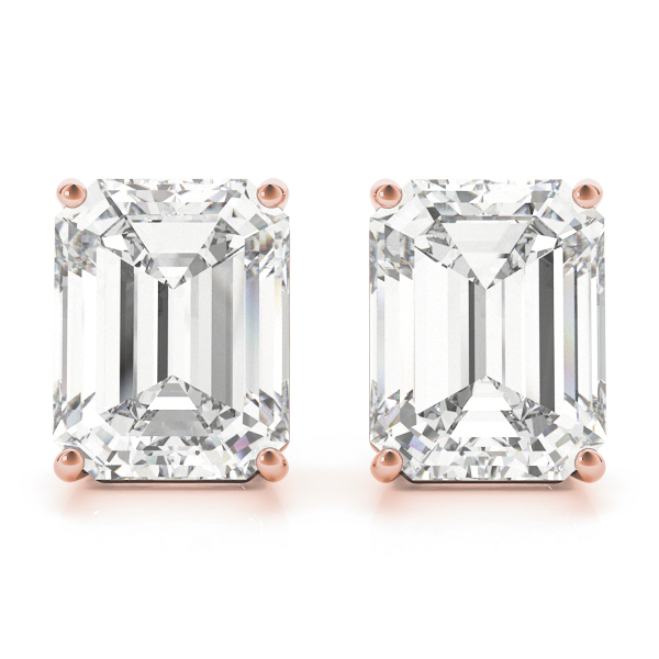 Emerald Diamond Stud Earrings 1.0 Ct. Rose Gold