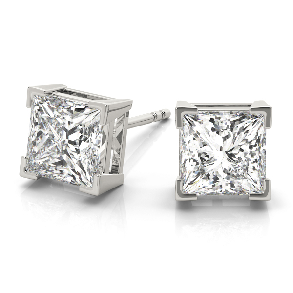 One Of A Kind Princess Cut Diamond Stud Earrings 0.72 tcw. F VS in 14 Karat White Gold