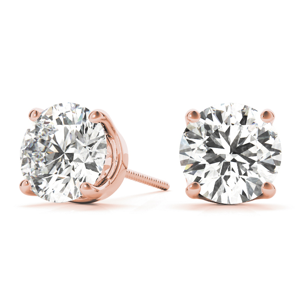 Round Earrings 0.8 Ct. Rose Gold