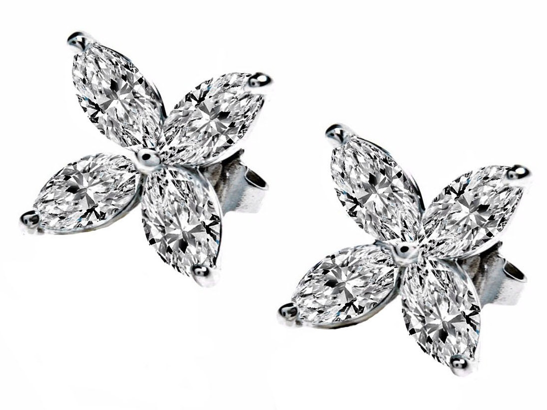Victoria Marquise Diamonds Floral Earrings 1.2 tcw in 14K White Gold
