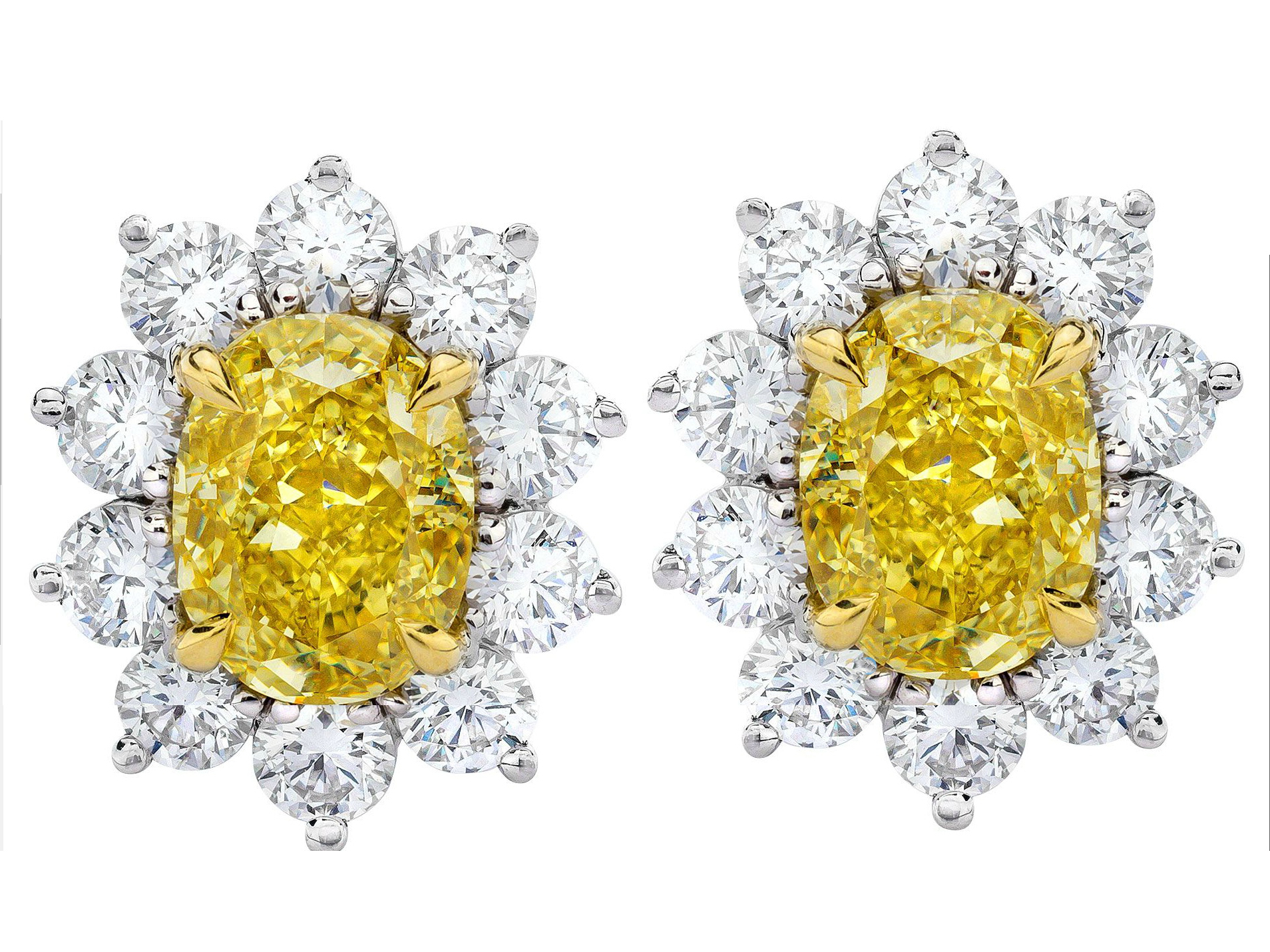 Large Fancy Yellow Diamond Earrings 3.02 TCW