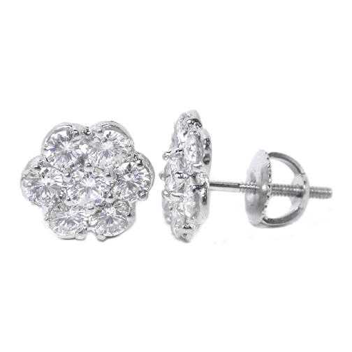 Round Diamond flower Stud Earrings 2.80 tcw.