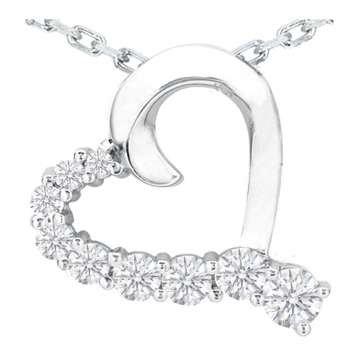 Nine Diamond Heart Pendant in 14 Karat White Gold (1.50 tcw.)