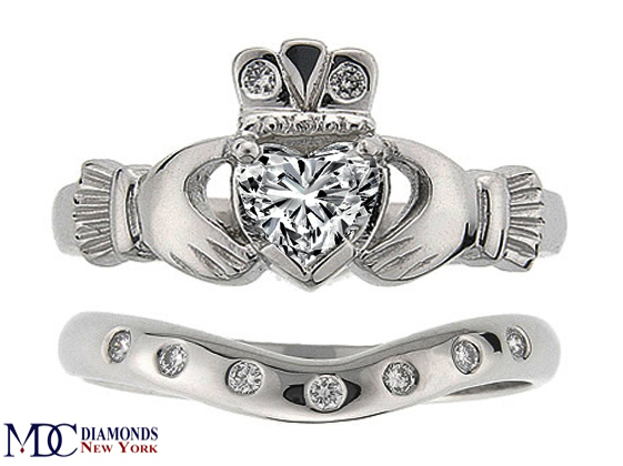 ring band rings wedding set ww gold claddagh white celtic