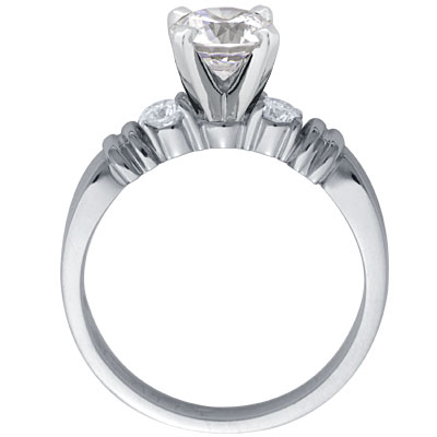 Duo Hoops Diamond Engagement Ring & Diamond Accents 0.10 tcw. In Platinum