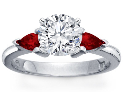 Platinum Pear-Shaped Ruby Engagement Ring