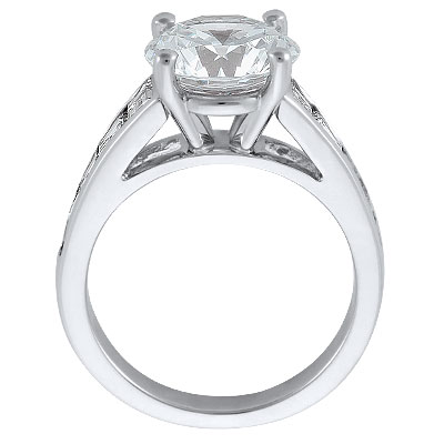Large Diamond Engagement Ring with Trapezoid Diamonds 1.6 TCW in White Gold