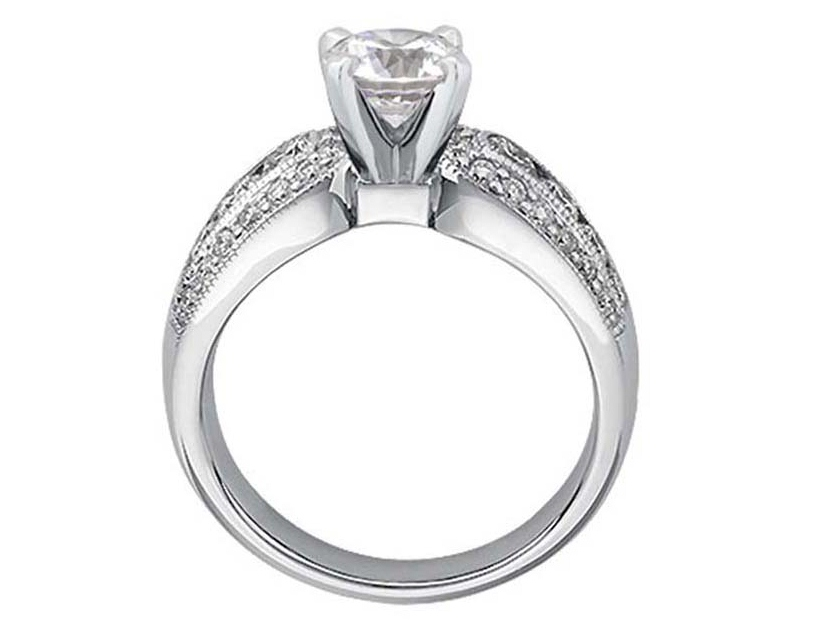 Horse Shoe Diamond Engagement Ring Gold in 14K White 0.80 tcw.